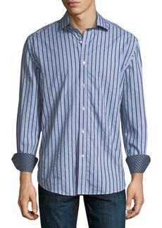 Neiman Marcus Striped Print Sport Shirt