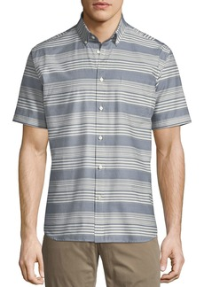 Neiman Marcus Striped Short-Sleeve Sport Shirt