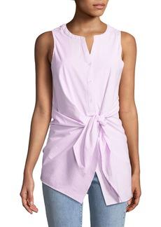 Neiman Marcus Striped Tie-Front Sleeveless Poplin Blouse