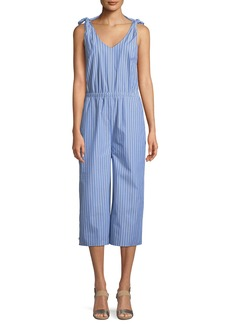 Neiman Marcus Striped Tie-Shoulder Jumpsuit