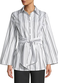 Neiman Marcus Striped Tie-Waist Button-Front Blouse