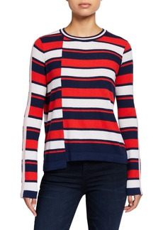 Neiman Marcus Striped Uneven-Hem Sweater