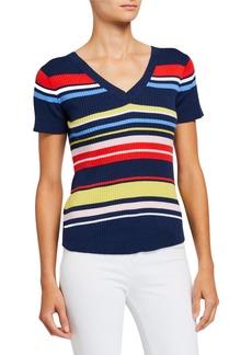 Neiman Marcus Striped V-Neck Short-Sleeve Rib Top