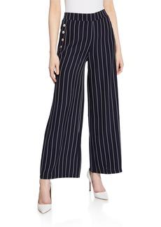 Neiman Marcus Striped Wide-Leg Flare Pants