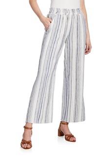 Neiman Marcus Striped Wide-Leg Linen Pull-On Pants