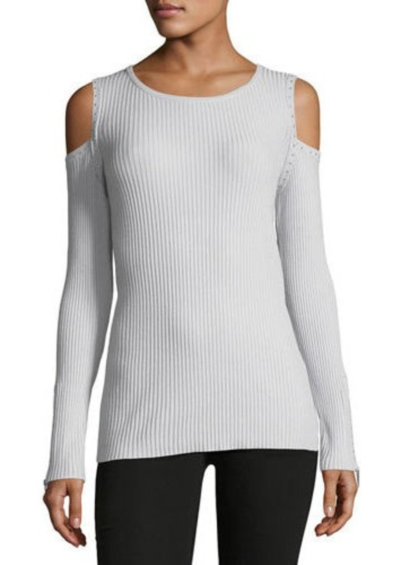 7073fb2b4fb07 Neiman Marcus Studded Cold-Shoulder Sweater