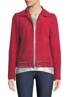 Neiman Marcus Studded Jacket in Suede