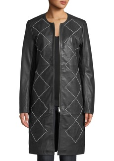 Neiman Marcus Studded Leather Topper Jacket
