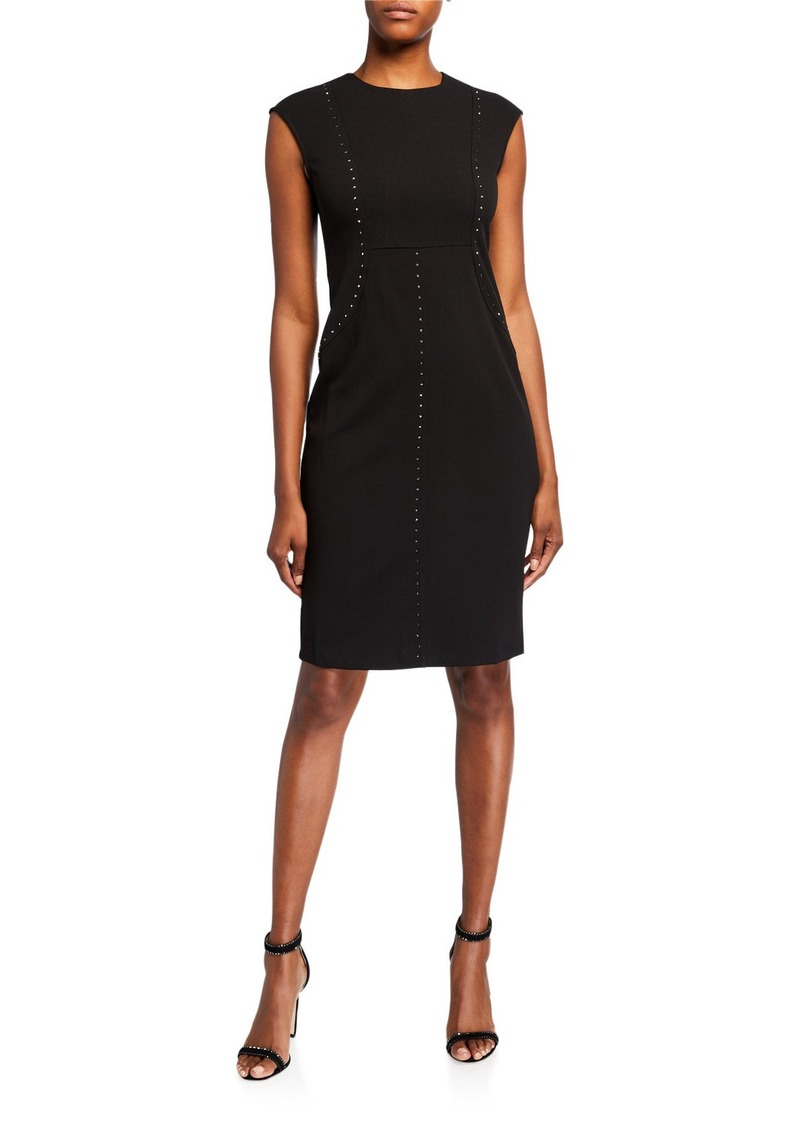 Neiman Marcus Studded Seaming Dress