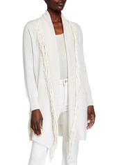 Neiman Marcus Suede Fringe Collar Belted Cashmere Cardigan