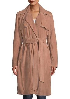 Neiman Marcus Suede Wrap Duster Coat