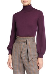 Neiman Marcus Superfine Balloon-Sleeve Turtleneck Sweater
