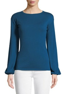 Neiman Marcus Superfine Cashmere-Blend Boat-Neck Blouson-Sleeve Sweater
