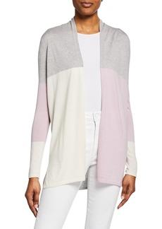 Neiman Marcus Superfine Cashmere-Blend Colorblock Cardigan