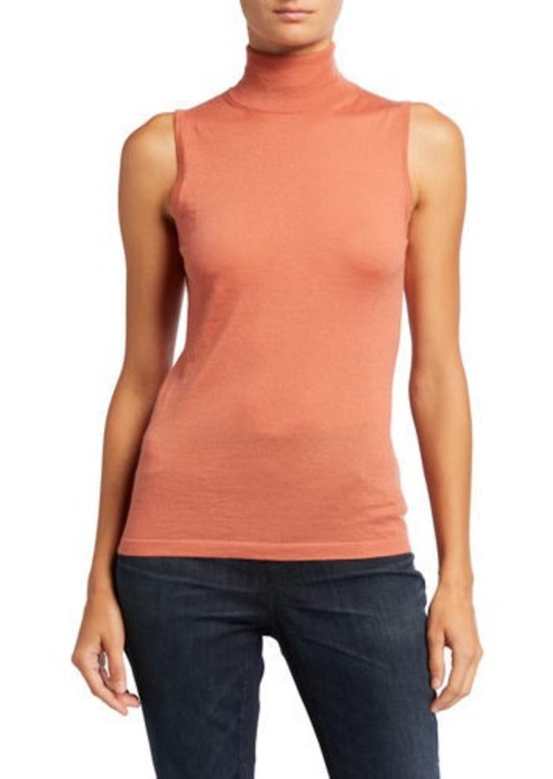 Neiman Marcus Superfine Cashmere Sleeveless Turtleneck Sweater