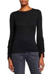 Neiman Marcus Superfine Cashmere Sweater w/ Suede Fringe Cuffs