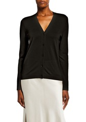 Neiman Marcus Superfine Cashmere V-Neck Button-Front Cardigan