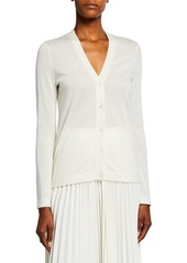 Neiman Marcus Superfine Cashmere V-Neck Button-Front Cardigan