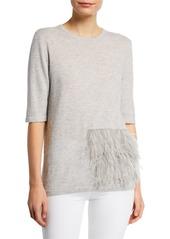 Neiman Marcus Superfine Crewneck Elbow-Sleeve Cashmere Top w/ Ostrich Feathers
