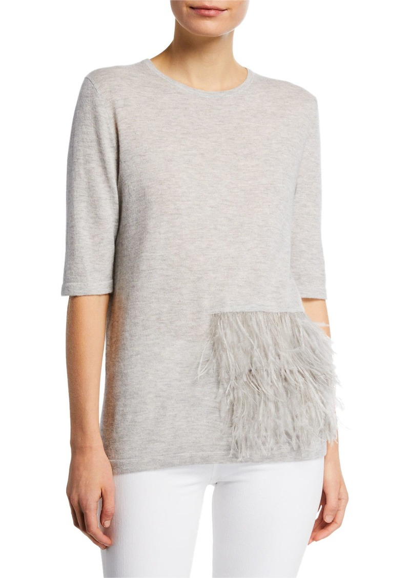 Superfine Crewneck Elbow-Sleeve Cashmere Top w/ Ostrich Feathers
