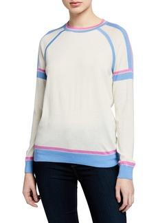 Neiman Marcus Superfine Crewneck Long-Sleeve Athletic Stripe Cashmere-Blend Sweater