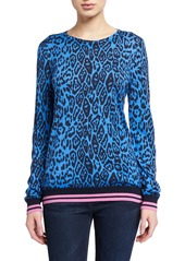 Neiman Marcus Superfine Leopard-Print Crewneck Striped-Trim Sweater
