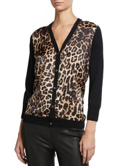 Neiman Marcus Superfine Leopard Silk Front V-Neck Cashmere Cardigan