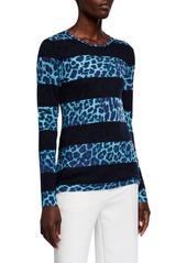 Neiman Marcus Superfine Leopard Stripe Crewneck Sweater