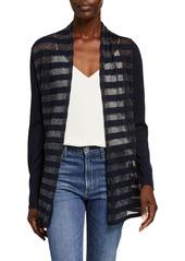 Neiman Marcus Superfine Metallic Striped Long-Sleeve Open Cardigan