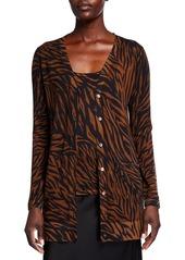 Neiman Marcus Superfine Tiger Stripe V-Neck Cashmere Cardigan