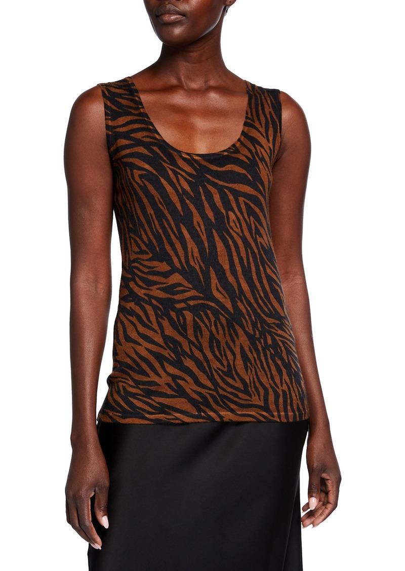 Neiman Marcus Superfine Tiger Striped Cashmere Tank