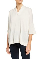 Neiman Marcus Superfine V-Neck 3/4-Sleeve Poncho