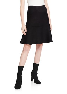 Neiman Marcus Sweater-Knit Skirt with Trumpet Flare