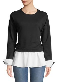 Neiman Marcus Sweatshirt and Poplin Twofer Blouse