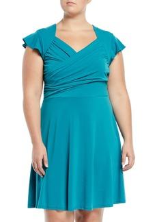 Neiman Marcus Sweetheart Flutter-Sleeve A-Line Dress  Plus Size