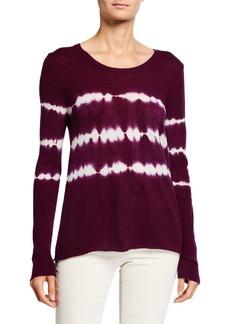 Neiman Marcus Tie Dye Horizontal Stripe Cashmere Sweater