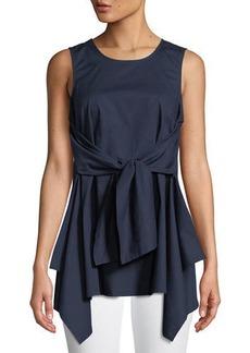Neiman Marcus Tie-Front Sleeveless Tunic