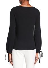 Neiman Marcus Tie Sleeve Crewneck Cashmere Sweater