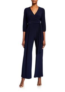 Neiman Marcus Tie Waist 3/4 Sleeve Jumpsuit
