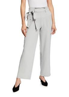 Neiman Marcus Tie-Waist Wide-Leg Ankle Pants