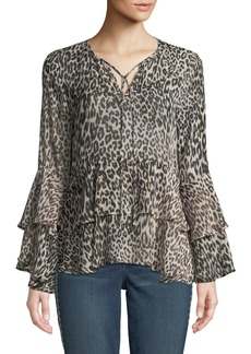 Neiman Marcus Tiered Bell-Sleeve Leopard-Print Blouse