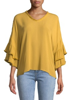 Neiman Marcus Tiered-Sleeve Frayed Peasant Blouse