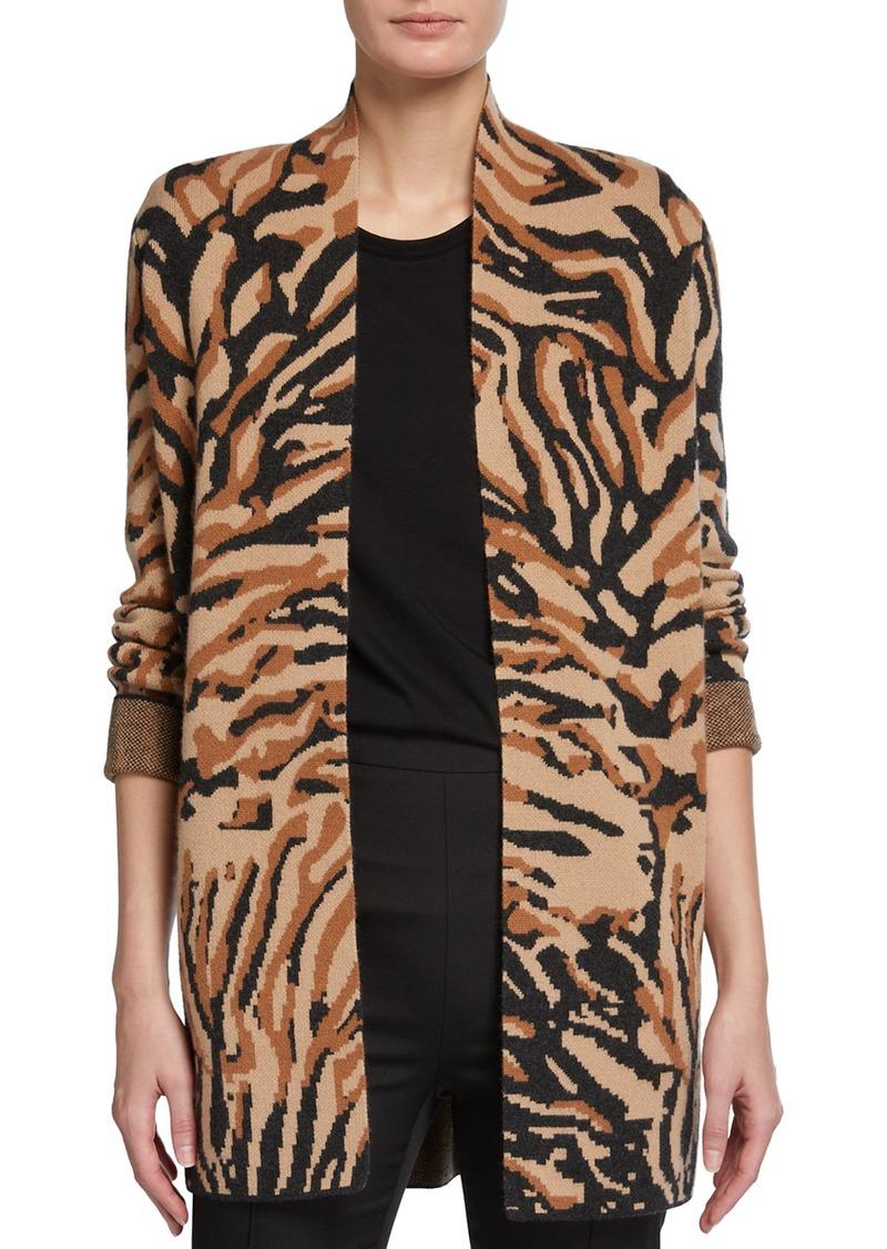Neiman Marcus Tiger Intarsia Double-Knit Cashmere Cardigan