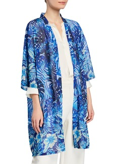 Neiman Marcus Tropical Print Open-Front Tunic