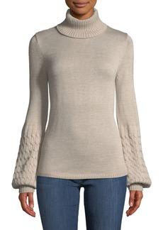 Neiman Marcus Turtleneck Balloon-Sleeve Sweater