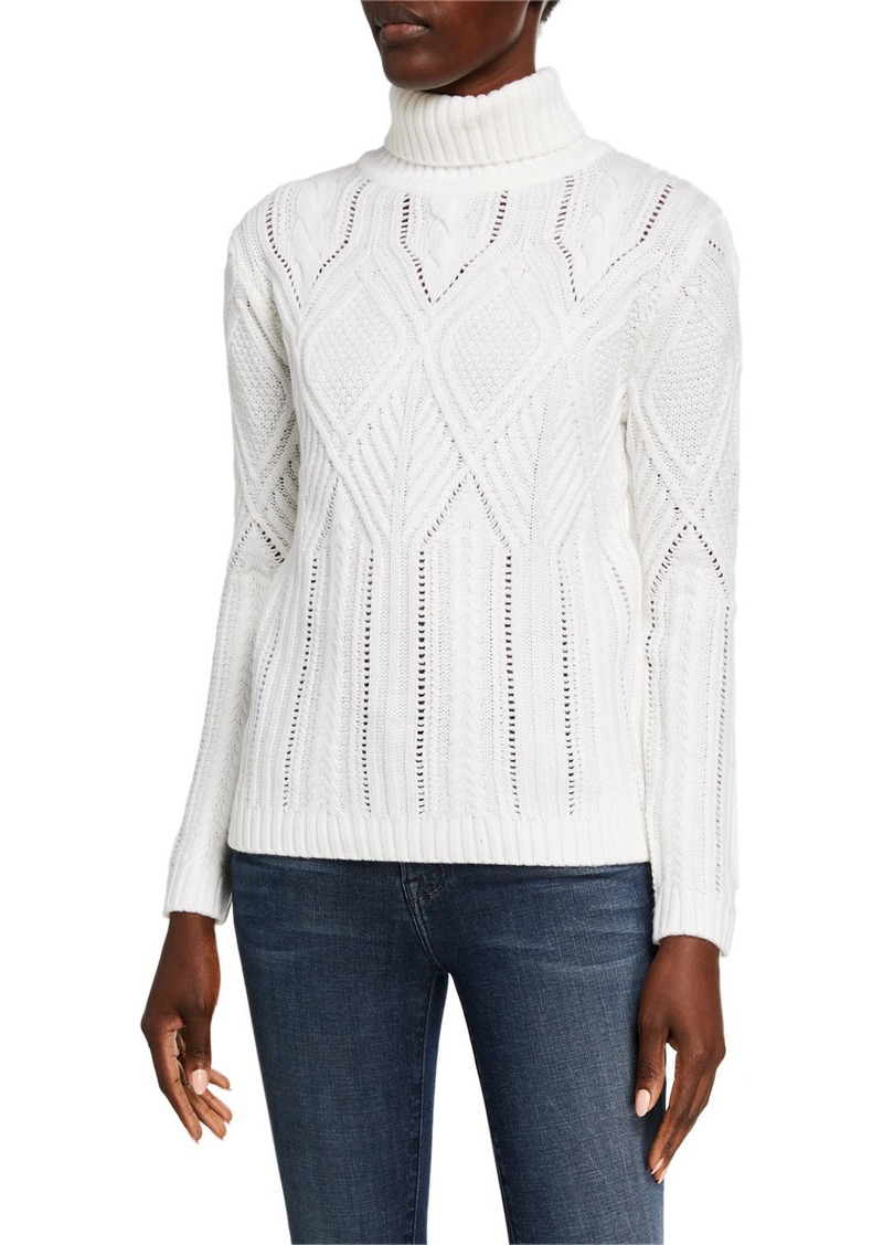 Neiman Marcus Turtleneck Cable-Knit Eyelet Sweater
