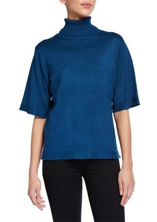 Neiman Marcus Turtleneck Elbow Sleeve Top