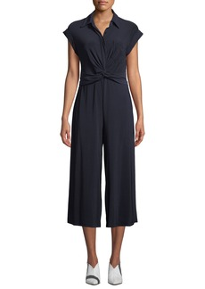 Neiman Marcus Twist-Front Collared Jumpsuit