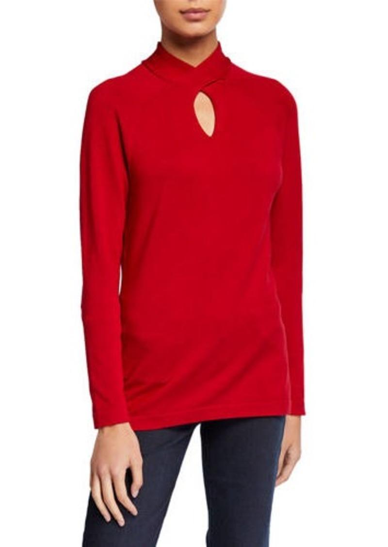 Neiman Marcus Twist Keyhole Neck Sweater