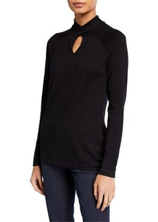 Neiman Marcus Twist Keyhole Neck Sweater